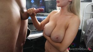 Finishing Him On Her Huge Tits
